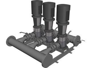 Grundfos Pump Set CAD 3D Model