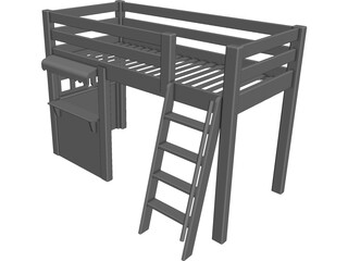 Loft Bed Children with Store CAD 3D Model