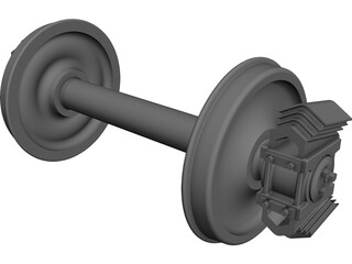 Freight Train Axle CAD 3D Model