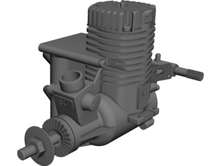 RC OS .50 Engine with Pitts Muffler 3D Model