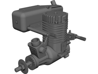 RC OS .50 Engine with Standard Muffler 3D Model