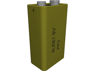 PP3 Battery CAD 3D Model