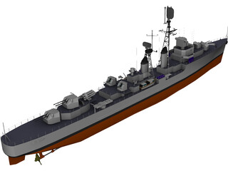 Destroyer Forbin 1958 3D Model