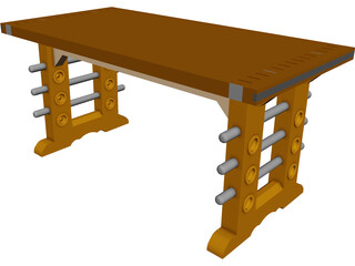Butcher Block Table CAD 3D Model