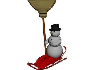 Snowman on a Snow Sled 3D Model