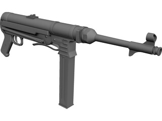 MP-40 Sub Machine Gun CAD 3D Model