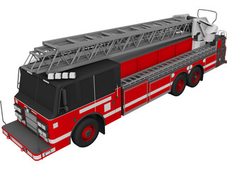Pierce Firetruck Ladder 3D Model
