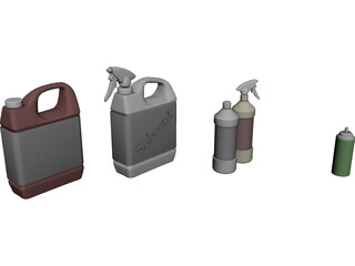 Spray Bottles 3D Model
