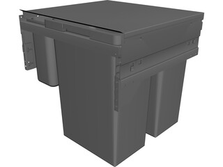 Sliding Garbage Cans CAD 3D Model