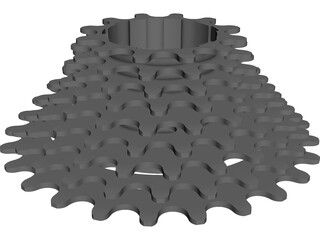 Cassette 9 Speed Rear CAD 3D Model