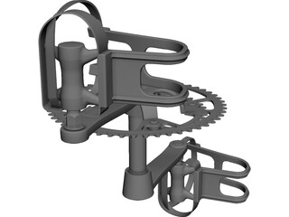 Pedals and Crankset CAD 3D Model