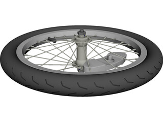 Wheel Bike Spoked CAD 3D Model