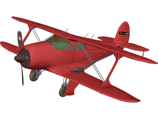 Beechcraft 17 Staggerwing 3D Model
