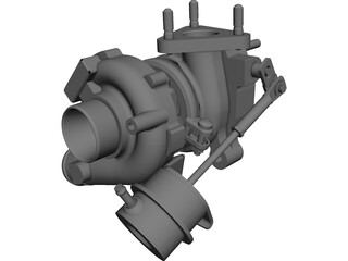 Turbo Garrett GT 12 with Wastegate CAD 3D Model