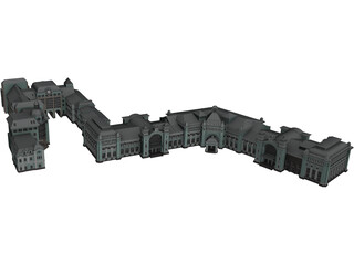 Russian Train Station in Moscow 3D Model