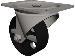 Caster Spin Steel Wheel CAD 3D Model