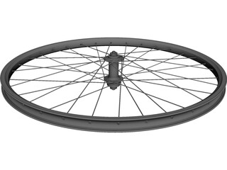 Front Bicycle Wheel Mavic Rim Shimano Hub CAD 3D Model