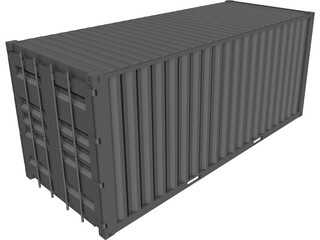 Shipping Container 20x08x08ft Movable Doors CAD 3D Model