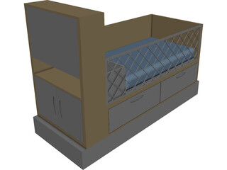 Baby Bed CAD 3D Model