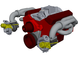 Engine SBC Dual Turbo CAD 3D Model