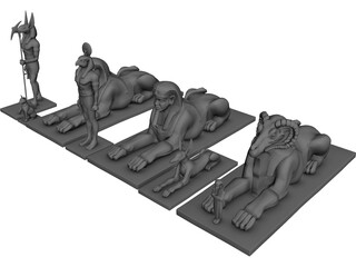 Egyptian Statues 3D Model