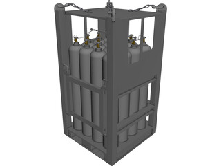 Offshore Gas Cylinder Rack CAD 3D Model