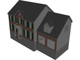 House with 2 Separate Garages CAD 3D Model