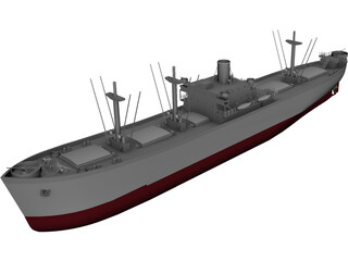Cargo Ship WWII 3D Model