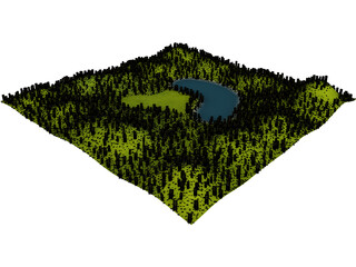 Hill Lake 3D Model 3D Preview