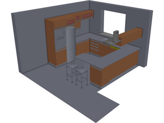 Walnut Kitchen CAD 3D Model