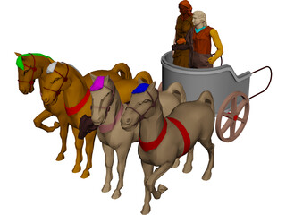 Chariot with People and Horses 3D Model