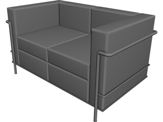 Sofa Corbusier LC-2 Two Seater 3D Model