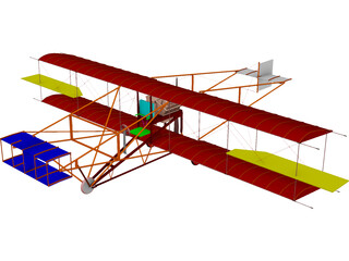 Biplane Curtis Pusher 3D Model