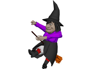 Witch Flying On Broom 3D Model