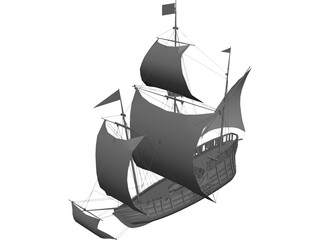 Caravel Sailing Ship 3D Model