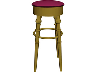 Barstool Brass 3D Model