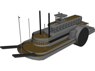 Steamboat SideWheel (1900) 3D Model