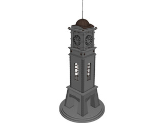 Civic Clock Tower 3D Model 3D Preview