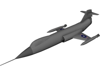 Lockheed F-104 Starfighter CAD 3D Model