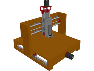CNC Machine (Router) from Wood CAD 3D Model