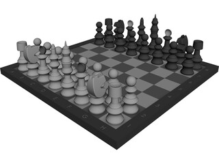 Chess Set CAD 3D Model