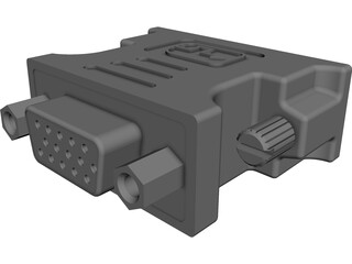 DVI-VGA Adaptor CAD 3D Model