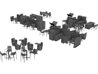 Office Furniture Set 3D Model