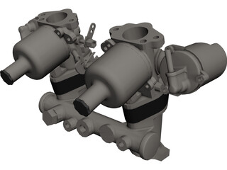 Carburetor SU HS2 CAD 3D Model