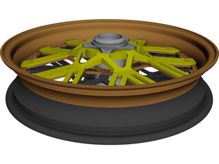 Motorcycle Rim Racing CAD 3D Model