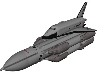 Buran-Energia Space Shuttle with Rocket 3D Model