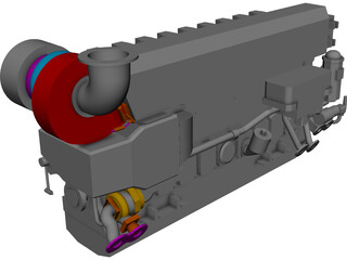 Marine Engine CAD 3D Model