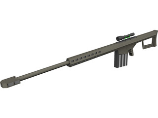 Barrett .50 Cal. Sniper Rifle 3D Model
