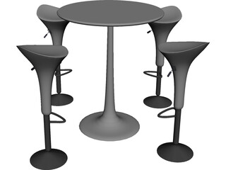 Bar Stool with Table 3D Model