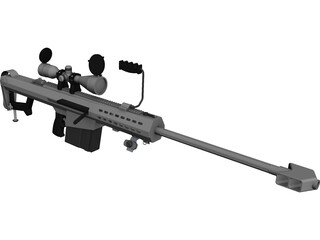 M107 Barrett CAD 3D Model